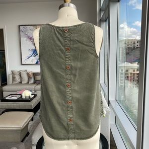 Women's Olive Green Button Back Tank Top